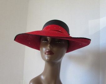 Hat size 22 Large Brim Black Red Rhinestone high fashion made in USA Vegas sun hat