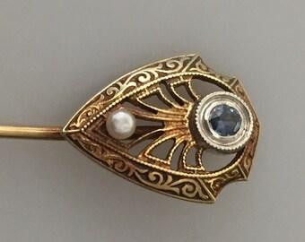 EDWARDIAN Stickpin Filigree Stickpin Original Box Early 1900s Art Deco LAPEL Pin Shield Shaped 14K Gold Sapphire & Seed Pearl ENGRAVED
