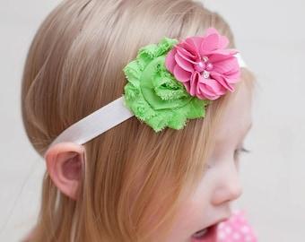 pink and green headband, FOE headband, shabbly flower headband