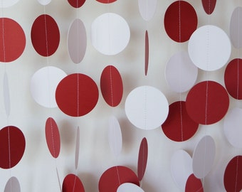 Crimson Red and White Graduation Decorations, Paper Garland, Dark Red & White Birthday Party Decor, 10 foot long strand