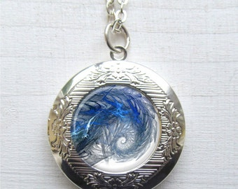 Locket, Spiral Necklace, Art Jewelry, Fractal Art Locket