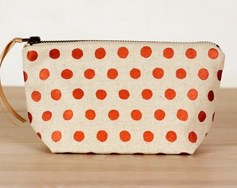 Copper spots on oatmeal - sit up pouch - screen printed and handmade