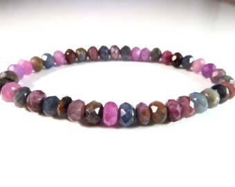 Multi Color Sapphire Stretch Bracelet 6mm Faceted Rondelle Roundel Gemstone Beads Blue Red Ruby Pink Green Gray Corundum