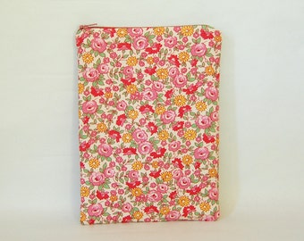 Liberty Pink Tablet Case - Padded & Quilted with Zipper  - for 7 inch tablet or e-reader - iPad mini, Galaxy Tab, Nexus 7, Kobo and Kindle