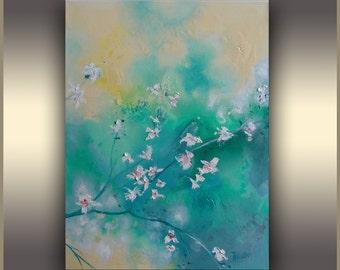 Cherry Blossom  by Tatjana Ruzin, Art Painting ORIGINAL art Oil painting Abstract Art Flowers painting Modern Art Blue Teal Painting