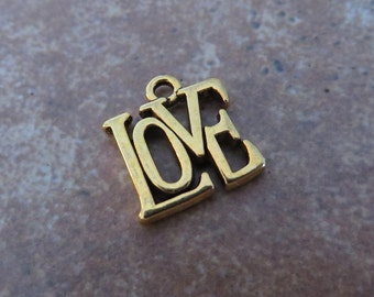 8 LOVE Charms Gold Tone Cute Great Size Little Love Squared Valentine Weddng Charm Jewelry 15x14 mm