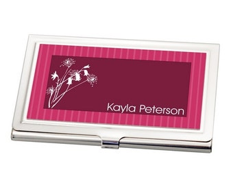Personalized Pink & Floral Business Card Holder