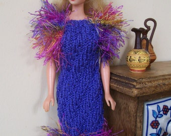 Barbie clothes - blue dress with fluffy sleeves and border