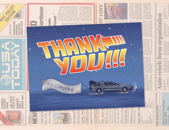 items similar to back to the future thank you card template      instant download      geeky thank