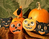 Lot of Beistle 1950s Halloween Decorations~ Cats & Jack-o-lanterns and Owl Hat!