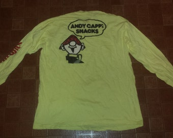 Men's Vintage 1980's Yellow Cotton ANDY CAPP'S Snacks Slim Jim Lond Sleeve T-Shirt Tee Sz-Xl Made In USA