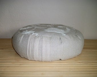 "Meditation Cushion. Zafu. Floor Pillow. Natural Linen Fabric w. floral embroidery. Unfilled Cover. 6"" L. Sidewall Zipper. Handmade, USA."