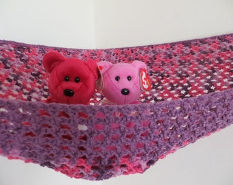 Large crochet toy net hammock in purple and pinks with purple trim, stuffed animal storage for girls room MADE TO ORDER