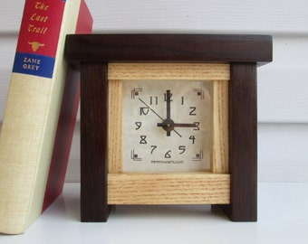 Mantel Clock, Bungalow Clock, Cottage Clock, Arts and Crafts Clock, Craftsman Clock, Peruvian Walnut Clock, Ash, Peruvian Walnut