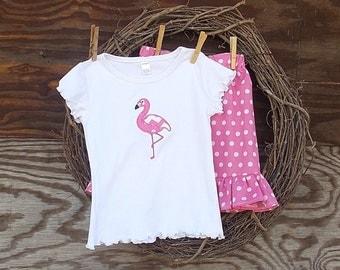 Girls Appliqued Outfit, Kids Short Set, Girls pink short set,  Flamingo shirt