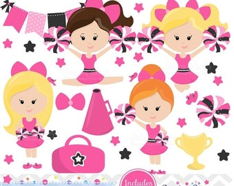 80% OFF - INSTANT DOWNLOAD,  Pink Cheerleader Clipart and Vectors for personal and commercial use
