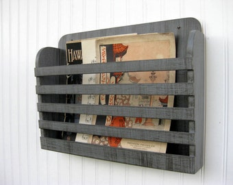 Distressed Wood Magazine File Menu Holder Rustic Steel Gray Dark Graphite Vintage Design Storage Organizer Antiqued Hanging Book Rack