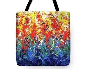 Rainbow Shoulder Bag, Boho Chic Tote Bag, Bohemian Handbag, Colorful Abstract Art Purse, Yoga Bag, Book Bag, Large Canvas Tote, School Bag