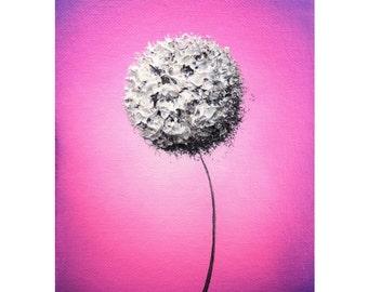 White Dandelion Flower Art, Abstract Art Print, Abstract Flower Wall Art, Purple Whimsical Art, Giclee Print of Modern Art, 5x7, 9x12