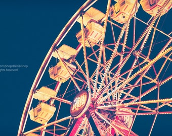 Carnival Ferris Wheel With American Flag In Lights -Fine Art Photo With Vintage Treatment -Kids Bedroom Wall Art Decor -Pink Yellow And Blue