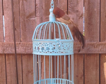"""Tall Round Bird Cage w/Feathered Bird - 17"""" Table Top - Aqua Blue Garden Patio Hanging Cottage Chic"""