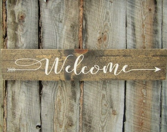 Rustic Home Decor Rustic Welcome Sign Hanging Welcome Sign Arrow Welcome Sign Outdoor Welcome Sign Welcome Sign Wedding Directional Sign