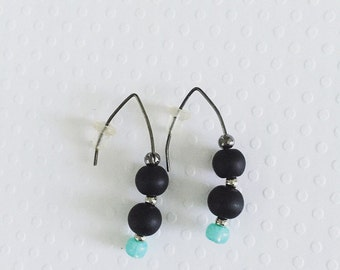 Green Earrings, Drop Earrings, Dangle Earrings, Black and Green Earrings, Mint Green, Modern Earrings, Unique Earrings