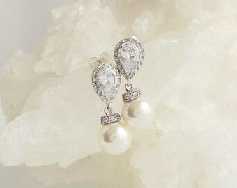 Bridal Earrings, CZ Teardrop earrings, Classic Wedding Earrings, Bridal Jewelry Drop  Pearl Earrings, Pearl Earrings, Bridesmaid earrings