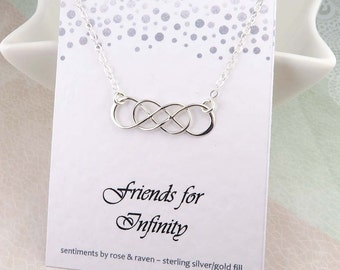 Friends Infinity Necklace - double infinity -  best friends necklace - sterling silver - infinity message card