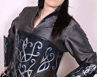 Elven leather corset,armor,women armor,armure,larp,cuir,fantasy,costume,medieval,lotr,thudor,gn