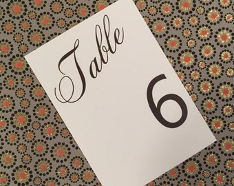 Formal Script Table Numbers - Modern, Elegant, Chic, Script - Table Numbers Deposit