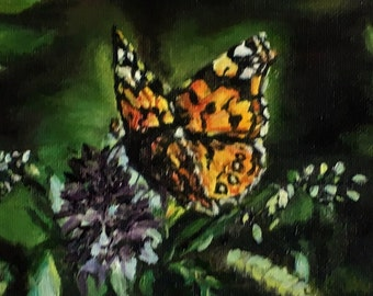 """Fine art 5X7 original oil painting """"Painted Lady Butterfly"""""""