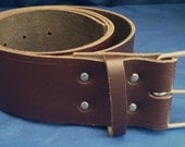 "Dark Brown Leather Belt 2"" Wide (50mm) with Choice of Buckle and Sizes Handmade Real Leather"