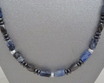 Magnetic Hematite Necklace with Sodalite Tubes