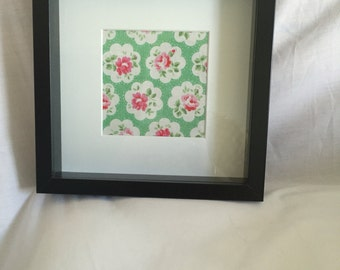 Framed Cath Kidston green provence rose fabric picture, black wood frame, fabric wall art