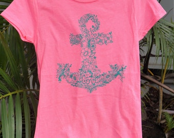 Little Girls hand drawn Floral Anchor hot pink tshirt with teal design