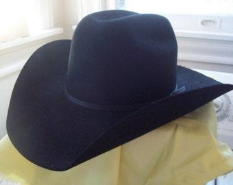 Vintage Cowboy Hat Resistol 4x Beaver Black Self Conforming Long Oval 6-7/8 Cowboy Western Rodeo