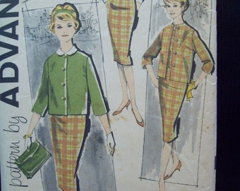 1960s Pattern Darted Jumper, Blouse and Jacket Pattern Vintage Advance 9469 Size 16 Bust 36 Cut Pattern