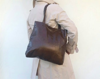 Brown Leather Tote, Leather Tote Bag, Handmade Leather Bag, Tote Bag With ZipperAllTheWAY, Woman Leather Bag, Brown Tote Bag yosy