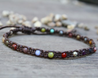 Macrame Anklet, Desert Calico, Mixed Stone Anklet, Adjustable Anklet, Colorful Anklet, Beaded Macrame, Teen Jewelry, Summer Jewelry