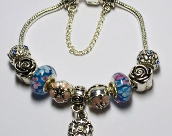 Pink and Blue European Style Charm Bracelet