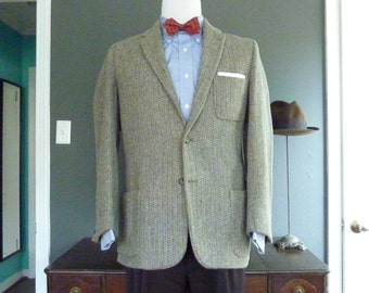 RARE Vintage Late 1950s - Early 1960s HARRIS TWEED 100% Wool 3 Patch Pocket Trad / Ivy League Sack Jacket Size 40 R or S.