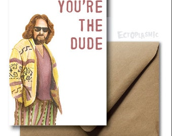 Greeting Card Big Lebowski Happy Birthday Card The Dude Hand Drawn Card