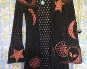 Cosmic Starseed Space Witch OOAK crochet Duster Small // Medium Black OM Alien Stars & Moons Flower of Life