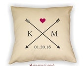 Initials, Heart & Arrow Pillow Cover, Personalized Couple Pillow, Love Pillow, Valentine Pillow,  Home Decor, Wedding Pillow, Anniversary