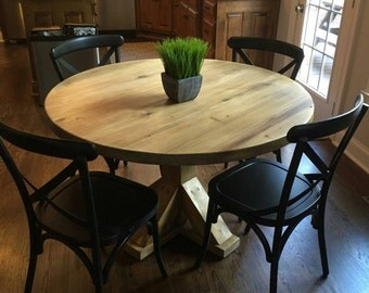 Round table, kitchen table, reclaimed wood table