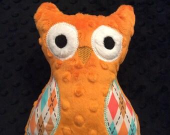 Orange Minky Owl, CLEARANCE SALE