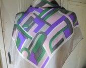 Vintage 1960s Schiaparelli designer scarf 100 percent silk abstract 27 x 28 inches