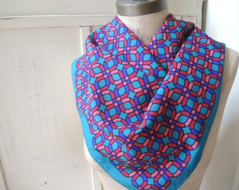 Vintage 1980s polyester geometric scarf  jewel tones 26 x 26 inches