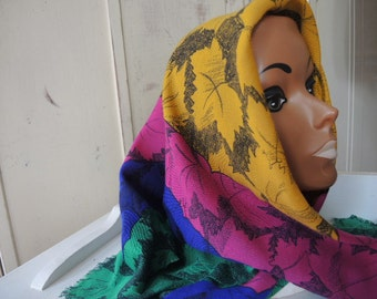 vintage 1980s polyester scarf Specialty House made in Italy jewel colors leaves 34 x 34 inches